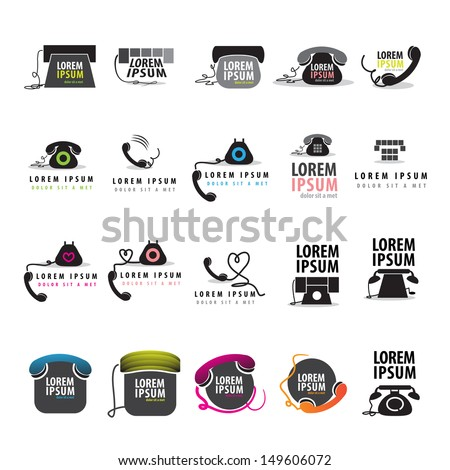 Phone Icons Set - Isolated On White Background - Vector Illustration, Graphic Design Editable For Your Design. Phone Logo - stock vector