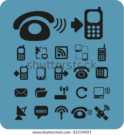 phone icons, signs, vector illustrations - stock vector