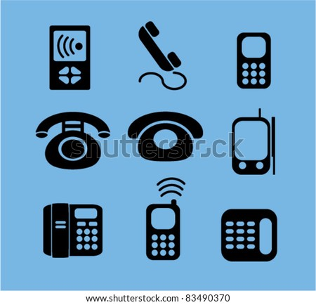 phone icons, signs, vector illustrations set - stock vector