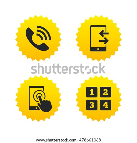 Phone Icons Touch Screen Smartphone Sign Stock Vector 478661068