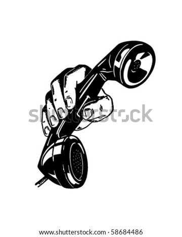 Phone In Hand - Retro Clip Art - stock vector