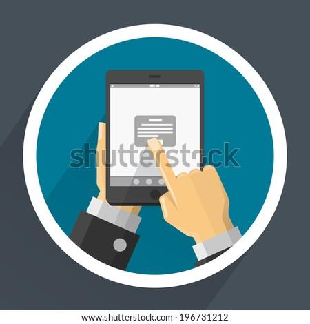Phone in hands. Vector - stock vector