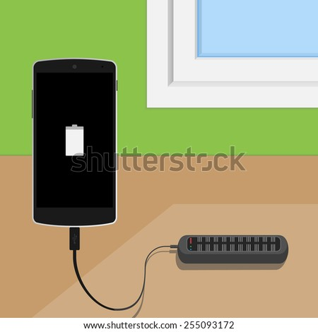 Phone is charged by solar charger - stock vector