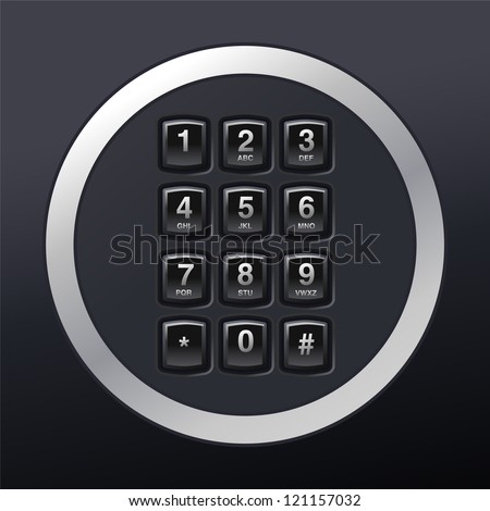 phone keypad, glossy telephone buttons - stock vector