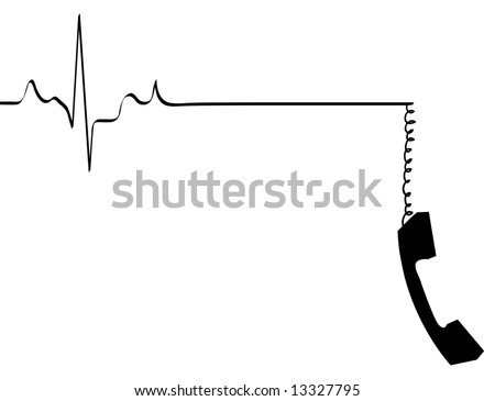 phone line rhythm going dead with dangling phone handset - vector - stock vector