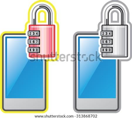 Phone Lock - stock vector