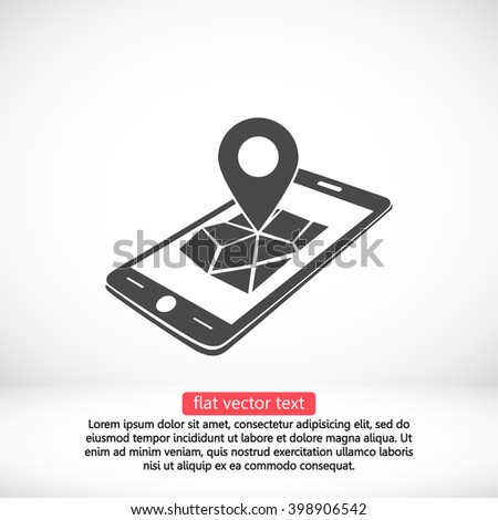 Phone map icon, phone map pictograph, phone map web icon, phone map icon vector, phone map icon eps, phone map icon illustration, phone map icon picture, phone map flat icon, phone map design icon - stock vector