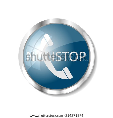 Phone nonstop blue  button or icon vector illustration