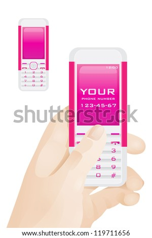 phone number - stock vector