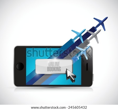 phone online booking concept illustration design over a white background - stock vector