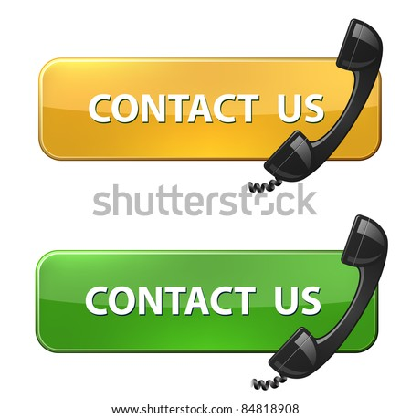 "Phone receiver and ""contact us"" button - stock vector"