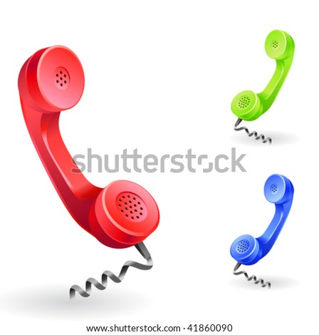 "phone receiver as ""contact us"" icon - stock vector"
