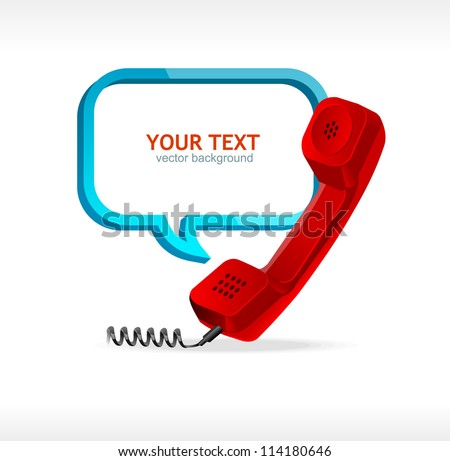 phone receiver as text box - stock vector