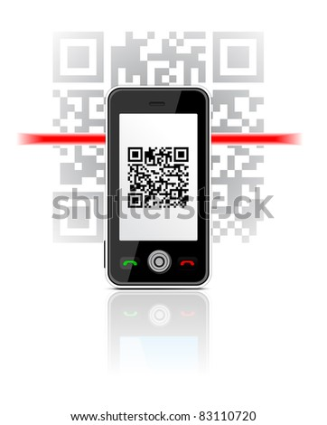 Phone scanned QR code - stock vector