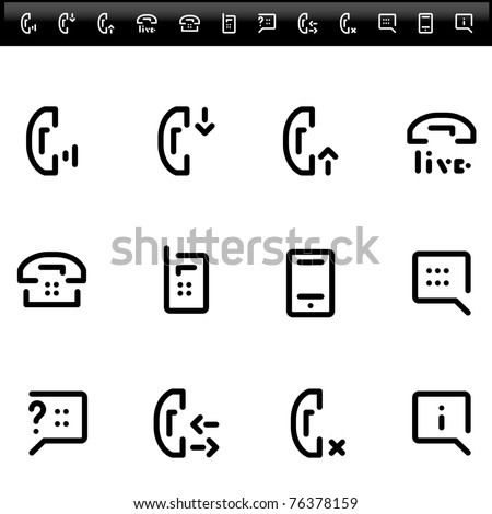 phone service and  live chat - simple line icons