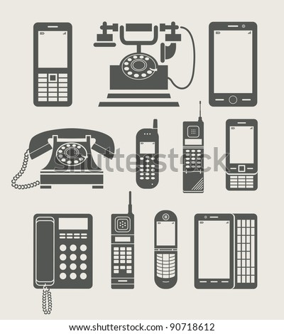 phone set simple icon vector illustration - stock vector