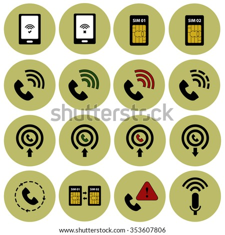 Phone signal and communications vector icon set