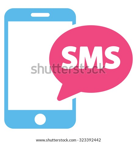 Phone Sms vector icon. Style is bicolor flat symbol, pink and blue colors, rounded angles, white background. - stock vector
