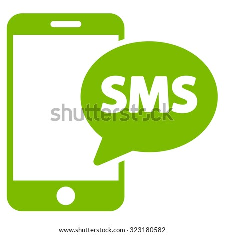 Phone Sms vector icon. Style is flat symbol, eco green color, rounded angles, white background. - stock vector
