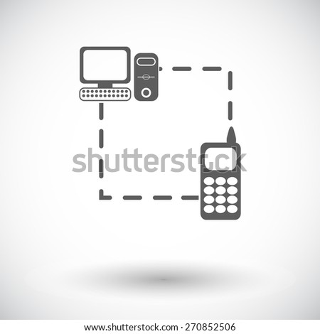 Phone sync. Single flat icon on white background. Vector illustration. - stock vector
