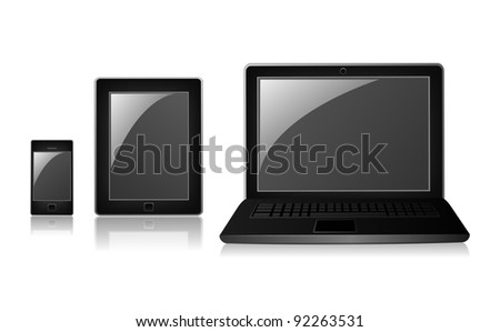 Phone, tablet and laptop isolated on white background - stock vector