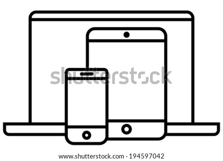 Phone, tablet and laptop outline vector icon - stock vector