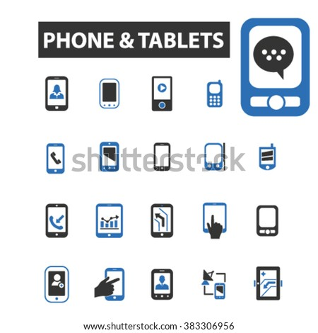 phone tablets icons - stock vector