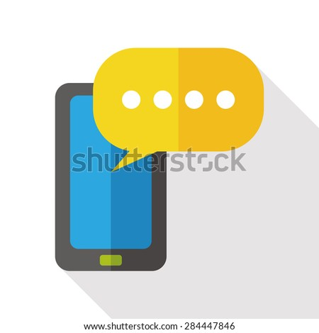phone talk flat icon with long shadow - stock vector