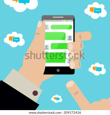 Phone texting vector template - stock vector