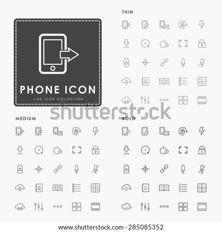 phone thin, medium and bold minimal line icon - stock vector