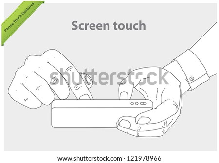Phone touch gestures. Screen touch - stock vector