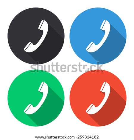 Phone vector icon - colored(gray, blue, green, red) round buttons with long shadow - stock vector