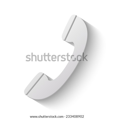 phone vector icon - paper illustration on white background  - stock vector