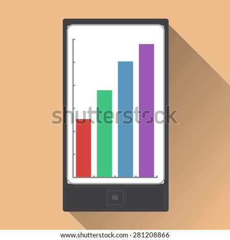 Phone with diagrams. Vector illustration flat design with long shadow - stock vector