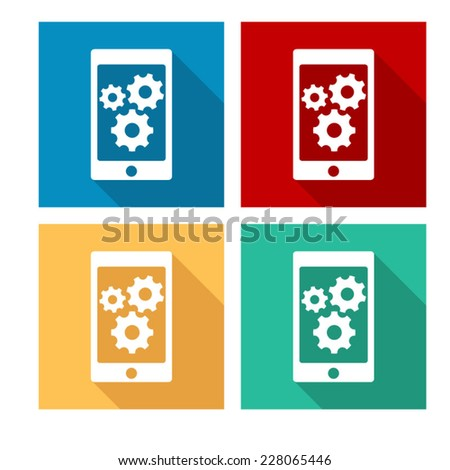 phone with gears and cogs - flat icon with long shadow - stock vector