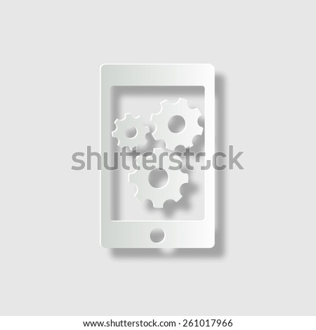 phone with gears and cogs  - vector icon with shadow - stock vector