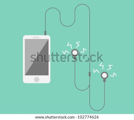 Phone with headphones playing music - stock vector