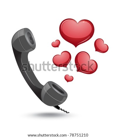 phone with hearts - stock vector