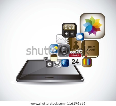 phone with icons of apps over gray background. vector - stock vector