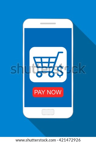 Phone with shopping basket symbol, online shopping, e-commerce flat design concept. - stock vector
