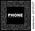 PHONE. Word collage on black background. Illustration with different association terms. - stock photo