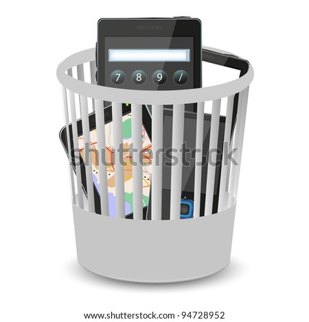 phones and computer tablet in the bin. Vector illustration - stock vector