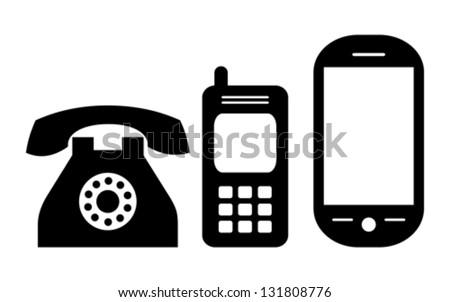 Phones evolution, vector illustration - stock vector