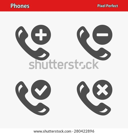 Phones Icons. Professional, pixel perfect icons optimized for both large and small resolutions. EPS 8 format. - stock vector