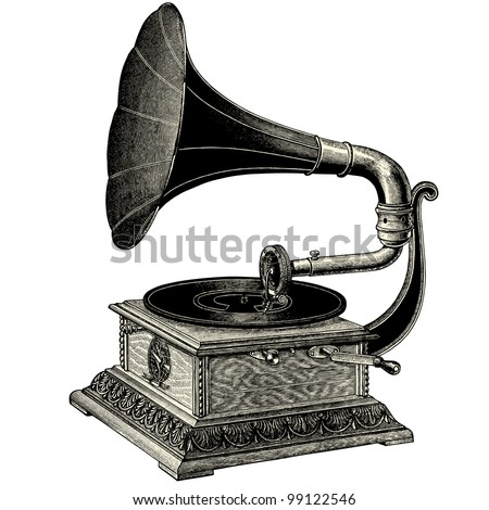 Phonograph - vintage engraved illustration - Catalog of a French department store - Paris 1909 - stock vector