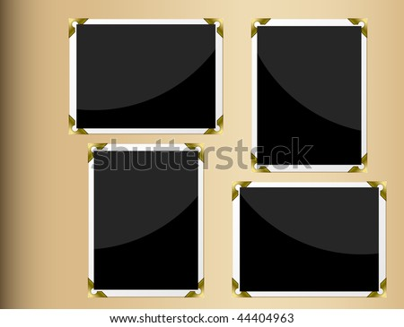 Photo album page with horizontal and vertical blank photographs. - stock vector
