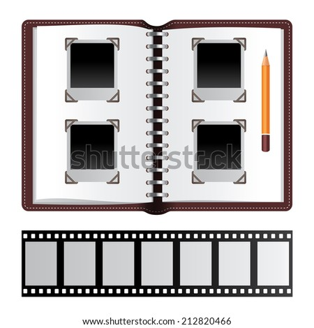 Photo album with empty photo frames and photo negatives - stock vector