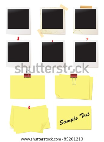 photo and note - stock vector