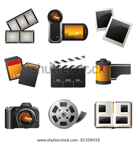Photo and video icons set - vector