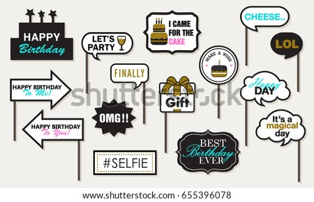 Photo Booth Props Birthday Party Featuring Stock Vector 655396078 ...